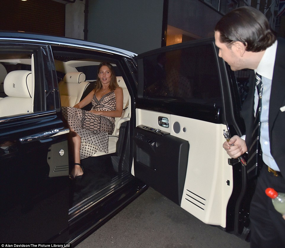 Jemima Goldsmith, the model second wife of Ben Goldsmith, tried out James Stunt's latest new car before going inside