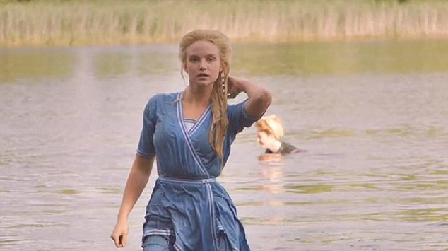 Covered up: Joanna Vanderham remains clothed while taking a dip in a lake in one of the programme's scenes