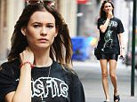 NEW YORK - SEPTEMBER 12: Behati Prinsloo seen out in Soho in a mini skirt and Misfits print tee on September 12, 2015 in New York, New York.  (Photo by Josiah Kamau/BuzzFoto via Getty Images)