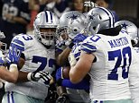 The Dallas Cowboys celebrate tight end Jason Witten (82) touchdown against the New York Giants during the second half of an NFL football game Sunday, Sept. 13, 2015, in Arlington, Texas. (AP Photo/Tony Gutierrez)