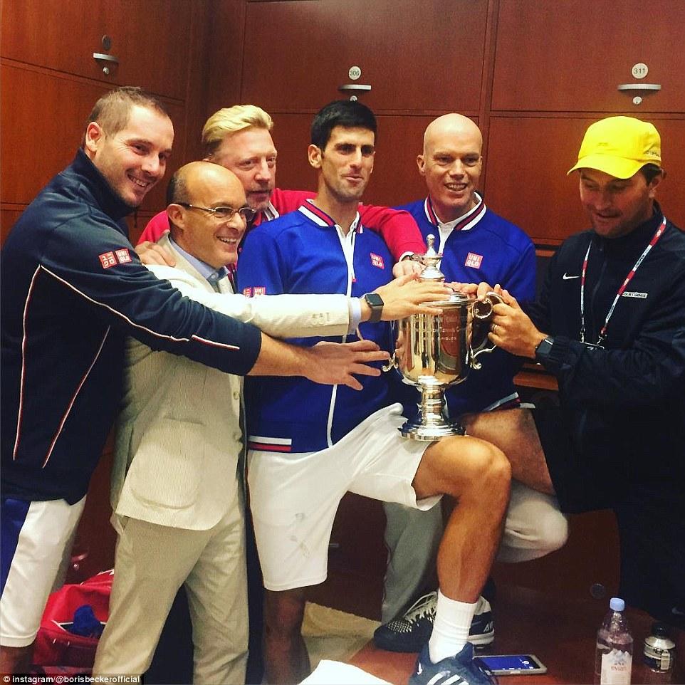 Djokovic's coach Becker shared an image on Instagram of celebrations inside new champion Djokovic's locker room