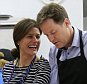 (Left-right) Molly (surname not given), Miriam Gonzalez Durantez, Liberal Democrat leader Nick Clegg and parliamentary candidate for Chippenham Duncan Hames make apple and blackberry crumble during a visit to Ivy Lane Primary School in Chippenham. PRESS ASSOCIATION Photo. Picture date: Wednesday April 29, 2015. See PA story ELECTION LibDems. Photo credit should read: Jonathan Brady/PA Wire