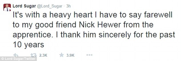 Old friends: Lord Sugar also took to Twitter to express his emotions back in December