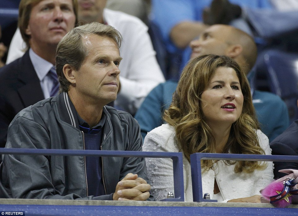 Federer's wife Mirka watched the match alongside the world No 2's coach Stefan Edberg in order to provide support to her husband