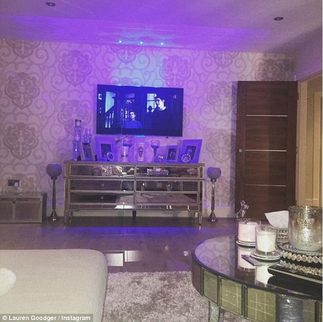 Home sweet home: The star also gave a fans a glimpse at her luxurious living room at her Essex home