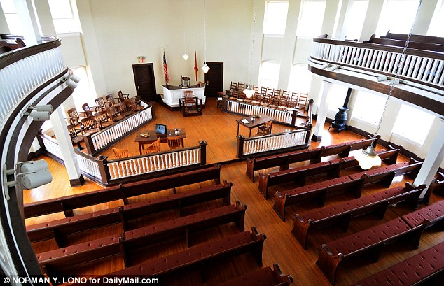 Disputed: This is the courtroom where her father was an attorney, and which is now part of the Monroe County Museum. The author's lawyer has been in dispute with the museum