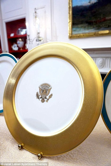 A fluted band of Kailua Blue, framed by a textured gold rim and a simple gold inner line, appears on all pieces of the service, except the dinner and serving plates