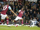 West Hamís Dimitri Payet, left, awaits the ball from West Hamís Victor Moses, center, during the English Premier League soccer match between West Ham and Newcastle at Boleyn Ground in London, Monday, Sept. 14, 2015.(AP Photo/Frank Augstein)