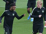 Manchester City's Kevin De Bruyne and Manchester City's Raheem Sterling during the Champions League training session held at the Manchester City First Team Academy, Manchester