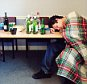 Collapsed Drunk College Boy --- Image by © Image Source/Corbis