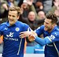 LEICESTER, ENGLAND - APRIL 04: Andy King of Leicester City celebrates scoring to make it 2-1 with David Nugent of Leicester City during the Premier League match between Leicester City and West Ham United at The King Power Stadium on April 4, 2015 in Leicester, England.  (Photo by Plumb Images/Leicester City FC via Getty Images)