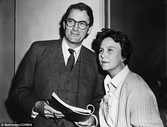 Actor Gregory Peck  and novelist  Harper Lee on the movie set of To Kill A Mockingbird in 1962