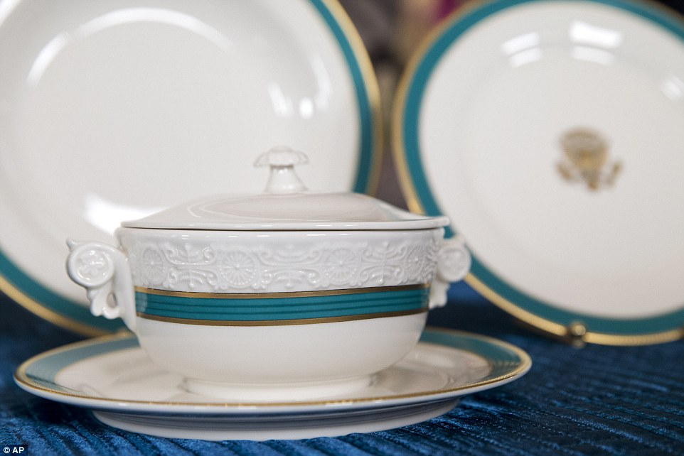 Tureen: Each 11-piece setting includes a first for presidential tableware - an individual tureen that can be used for soup, dessert or 'any other dish that the chefs get creative and decide they would like to serve with a little panache in an individual serving size'