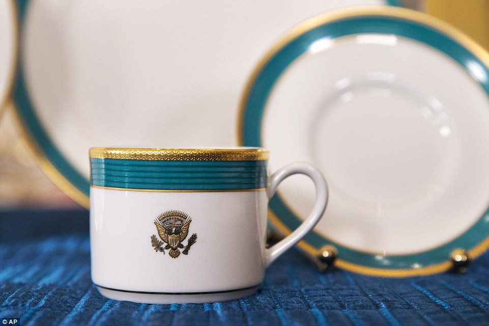 Something different: The approximately 200 people invited for Tuesday's dinner in the East Room will be among the first guests to eat from the new china. The menu features Caesar sashimi salad presented in the style of a Japanese gift, Wagyu beef and an American-style cheesecake made using tofu and soymilk