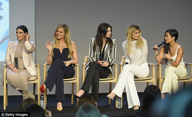 Business empire: Little sisters Kendall Jenner and Kylie Jenner joined Kim, Khloe and Kourtney at the Apple store in Soho to discuss their new websites on Monday