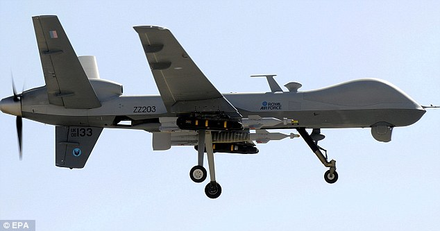 Death from above: UK's Tornado fighters and remote-controlled Reaper drones (pictured) have conducted 194 strikes over Iraq as of 23 March - killing 242 militants