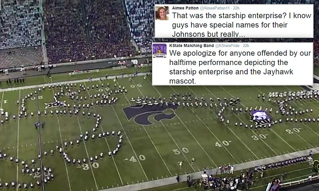 Kansas State apologizes after the marching band formed male genitalia