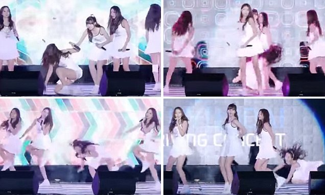 Gfriend repeatedly fall on wet stage while dancing to Me Gustas Tu