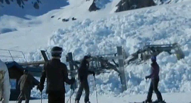 End game: Skiers look in on shock as the snow completely engulfs the top section of the lower ski lift