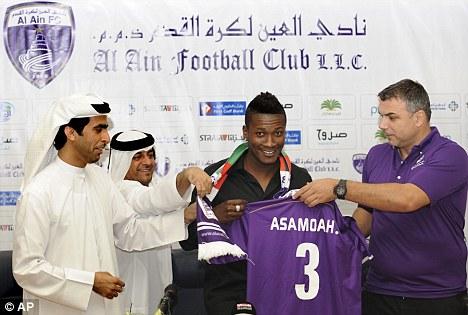 Bid: A Qatari club are looking to sign Sunderland striker Asamoah Gyan, who is currently on loan at Al Ain