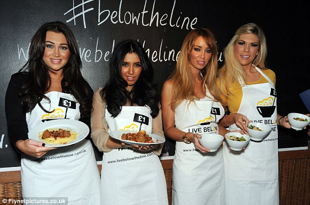 Living below the line: (L-R) Lauren Goodger, Peri Sinclair, Lauren Pope and Frankie Essex show off their creations at the Live Below the Line cook off
