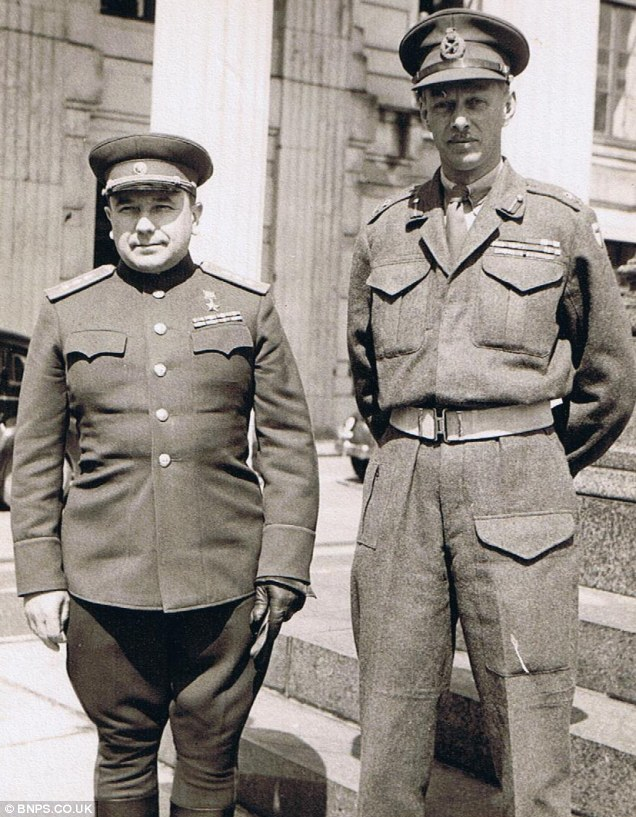 General Dempsey with a Russian officer. He retired from the British Army in 1947 and married the next year. In his retirement he hunted, and bred race horses