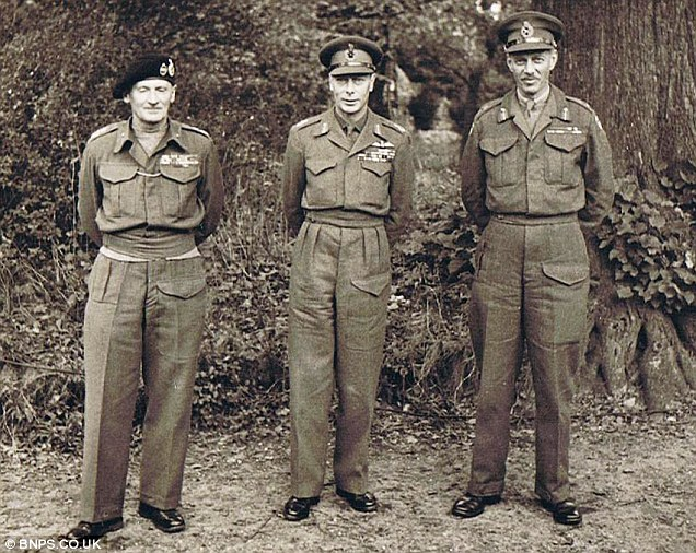 General Dempsey with Field Marshal Montgomery (left) and King George VI in Northern France 1944