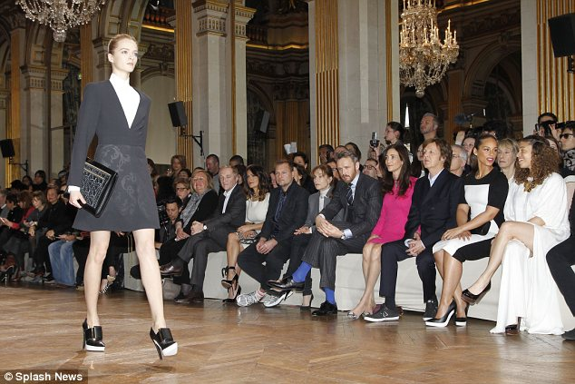 Model behaviour: Alicia rubbed shoulders with fashion elite as she admired Stella McCartney's latest collection
