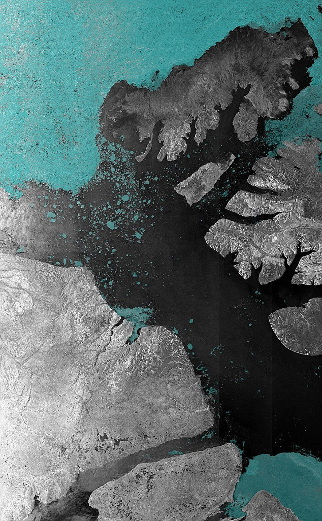 The McClure Strait, one end of the route through the Northwest Passage