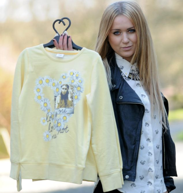 That's my face: Nicola Kirkbride, 22, was shocked to discover a photograph had been taken from her blog and placed on the front of a Tesco girl¿s sweater