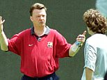 LOUIS VAN GAAL...F.C.Barcelona's Dutch coach Louis Van Gaal, left, makes a point with Barcelona player Xavier Hernandes  during a training session in Barcelona's Camp Nou stadium Wednesday May 17, 2000. Spanish newspapers reported May 17 that Van Gaal may resign as Barcelona's coach at the end of the soccer season.  (AP Photo/Cesar Rangel)...S...SOC