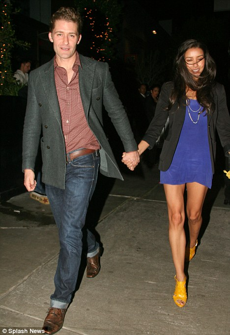 Have you checked her IQ? Glee's Matthew Morrison steps out with his model girlfriend Renee Puente as they went for dinner in LA last night