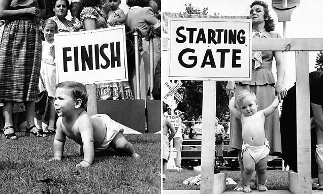 Babies raced to the finish in 1950s Diaper Derbies