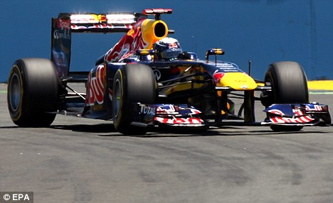 Out in front: Sebastian Vettel in qualifying for the European Grand Prix