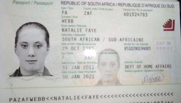 Urgent hunt: The false passport of 'Natalie Faye Webb' - thought to be terror widow Samantha Lewthwaite - who has escaped from Mombasa with bomb fuses