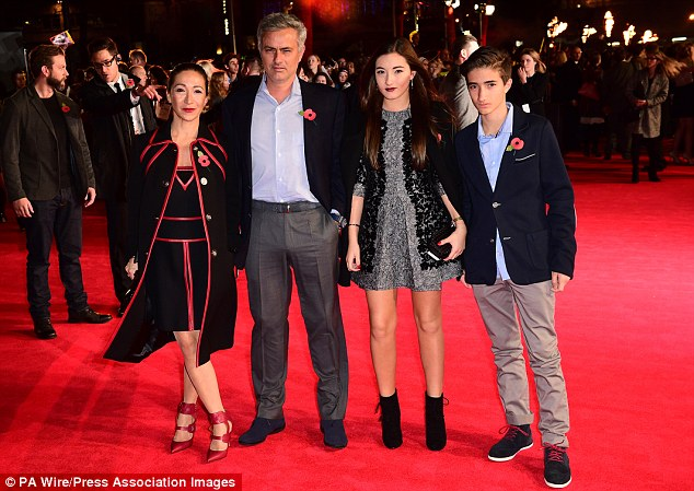 All grown up: Mathilde, her brother José Mário Jr and their parents at last year's Hunger Games premiere