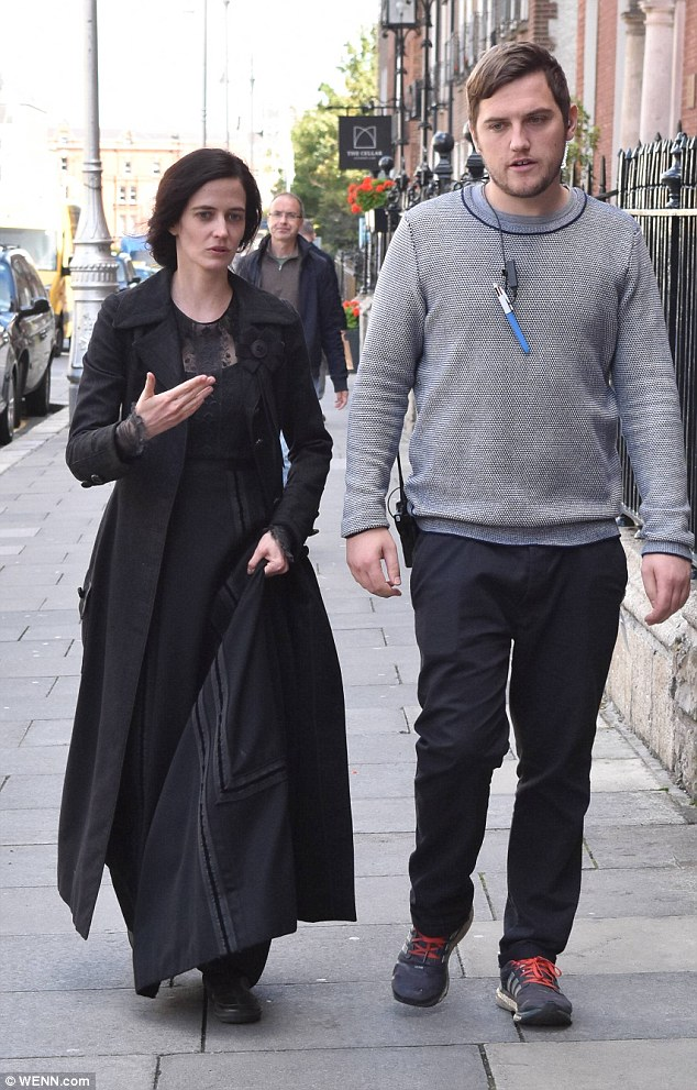 Talking the craft: The raven-haired beauty was being guided around the Dublin set of the series, which has proved a hit with fans since first airing in May 2014