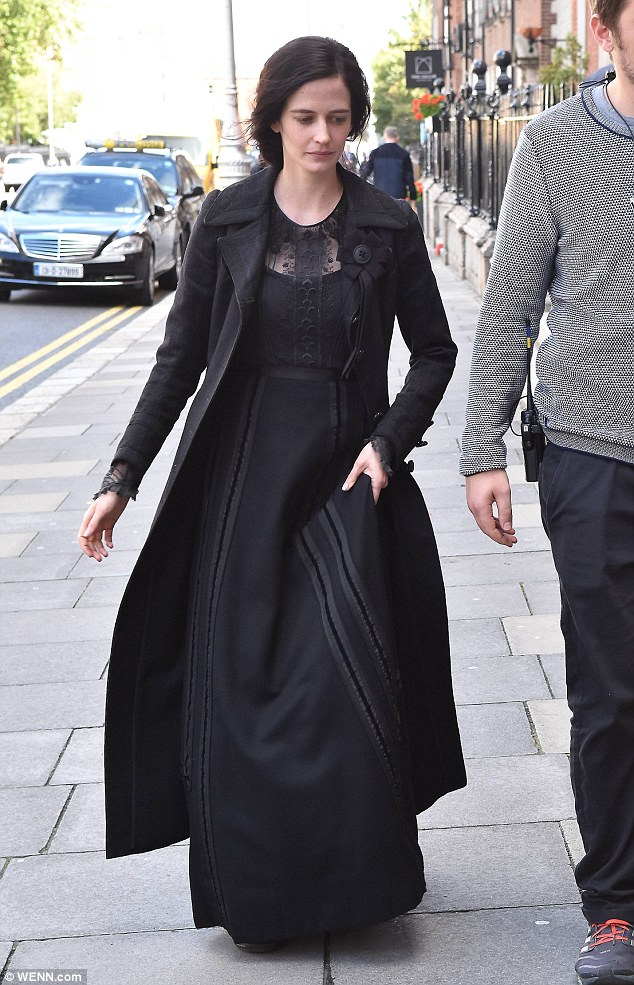 What a lady: Eva Green even managed to look sensational in a severe Victoria era costume on the set of Penny Dreadful