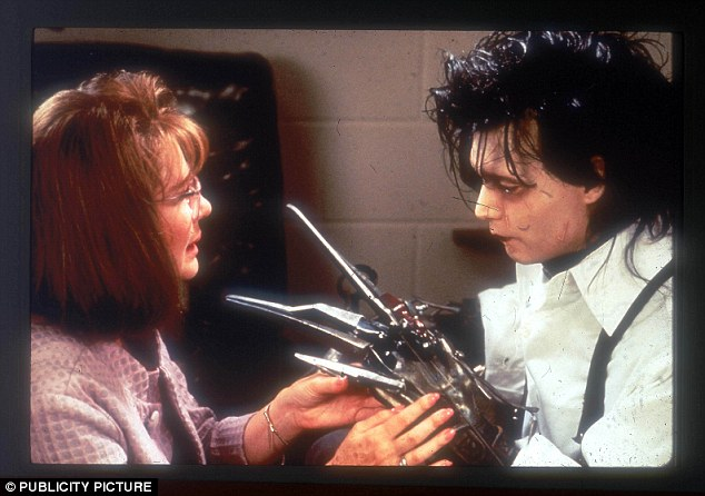 The star in his esteemed role as Edward Scissorhands in 1991 with Diane West
