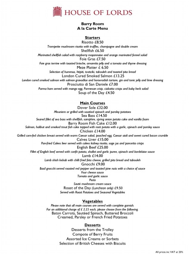 Subsidised: The menu for the House of Lords Barry Room restaurant - all of the dishes are subsidised by the taxpayer