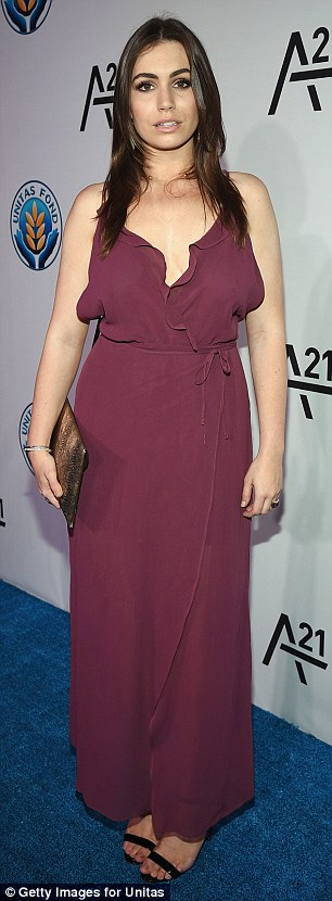 Perfect in plum: Sophie Simmons had a delicate frilled number