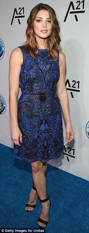 Lacey lady: Ashley Greene went for indigo wearing a lace frock
