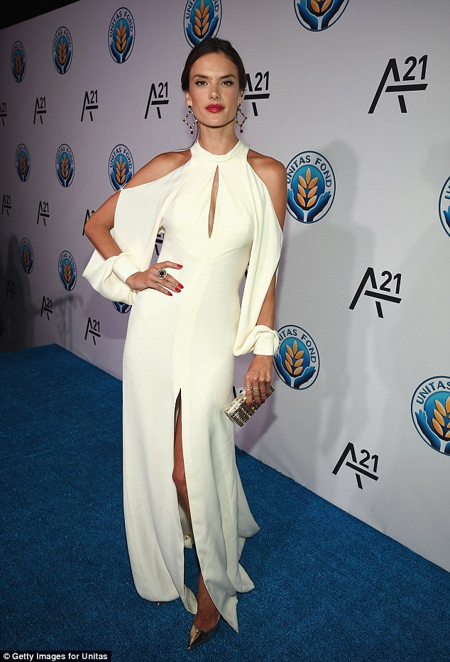 Slinky: Alessandra Ambrosio made her appearance at the Unitas gala against Sex Trafficking held in New York on Tuesday night, and seemed to think a glimpse was better than showing off everything