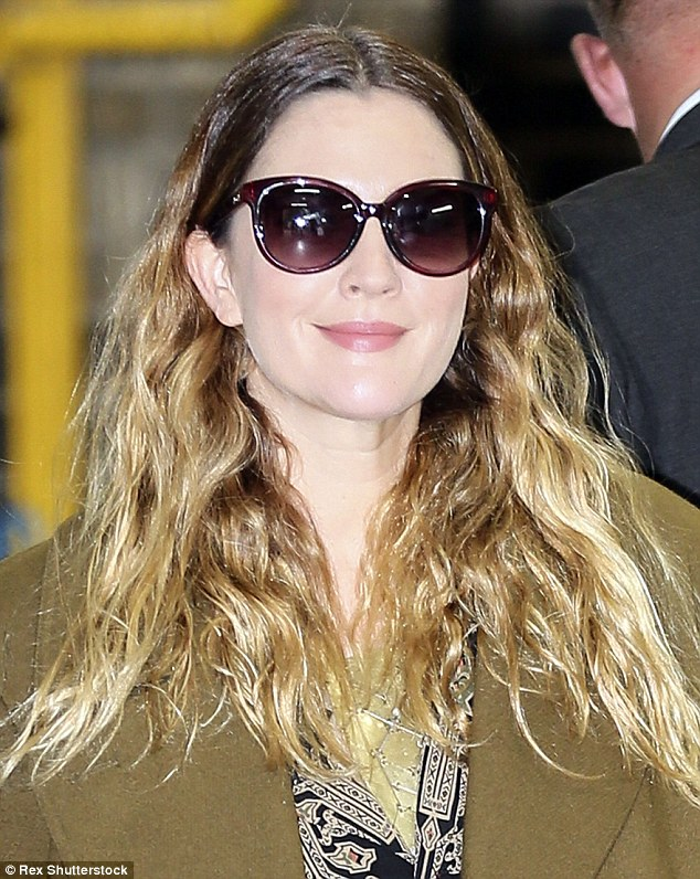Hollywood glamour: Drew hid her eyes behind a pair of sunglasses as she wore her ombré hair in loose waves