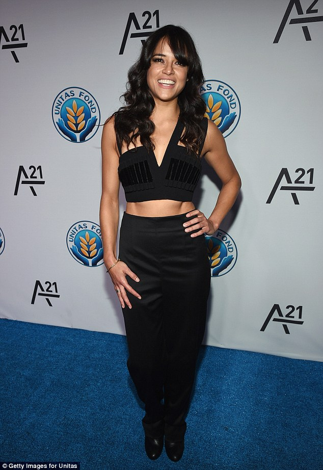 Flashing her torso: Michelle Rodriguez showcased her abs in her outfit