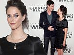 """NEW YORK, NY - SEPTEMBER 15:  Actor Benjamin Walker (L) and actress Kaya Scodelario attend """"Maze Runner: The Scorch Trials"""" New York Premiere at Regal E-Walk on September 15, 2015 in New York City.  (Photo by Dave Kotinsky/Getty Images)"""