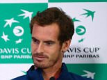 GLASGOW, SCOTLAND - SEPTEMBER 16:  Dom Inglot, Captain Leon Smith and Andy Murray of Great Britain talk during a press conference at Emirates Arena on September 16, 2015 in Glasgow, Scotland.  (Photo by Jordan Mansfield/Getty Images for LTA)