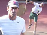 142517, EXCLUSIVE: Jon Hamm spotted playing tennis this morning in Los Angeles. Los Angeles, California - Wednesday September 16, 2016. Photograph: Miguel Aguilar/JS, © PacificCoastNews. Los Angeles Office: +1 310.822.0419 sales@pacificcoastnews.com FEE MUST BE AGREED PRIOR TO USAGE