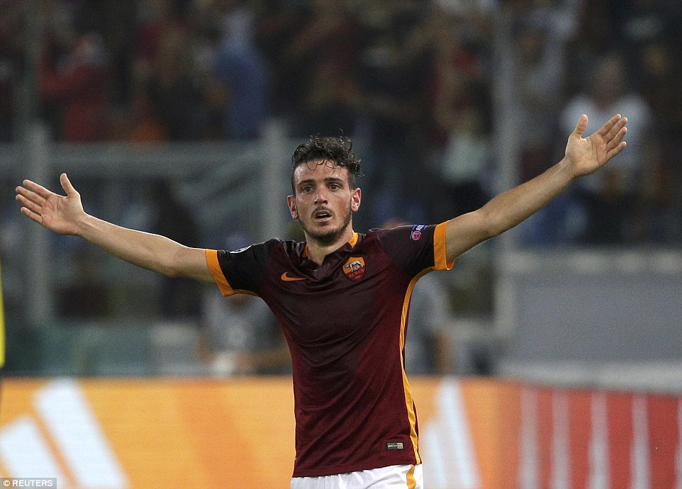 Roma midfielder Alessandro Florenzi stretches his arms out wide as he celebrates his superb 31st-minute equaliser against Barcelona