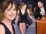 THE TONIGHT SHOW STARRING JIMMY FALLON -- Episode 0330 -- Pictured: (l-r) Actress Dakota Johnson during an interview with host Jimmy Fallon on September 16, 2015 -- (Photo by: Douglas Gorenstein/NBC/NBCU Photo Bank via Getty Images)